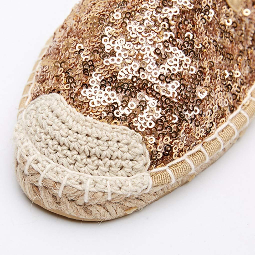 Femme Espadrilles Bling Or Tissu /À Paillettes Paille Low Cut Chaussures De P/êcheur Femme Plus La Taille 42 Chaussures D/écontract/ées