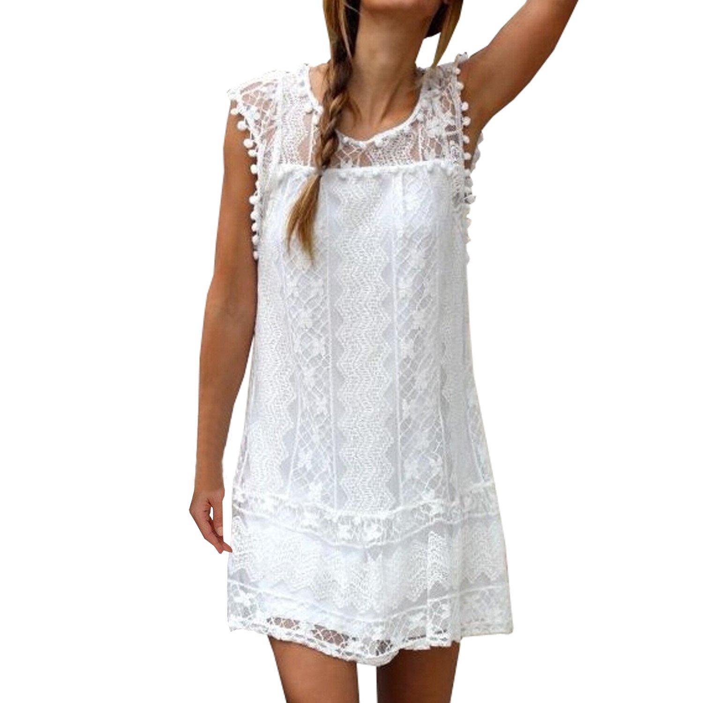 SUNNOW® NEU Damen Sommerkleid Minikleider Rundhals Ausschnitt ...