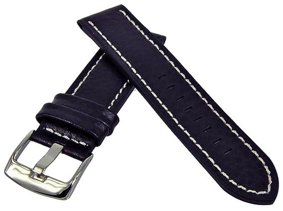 Uhrenarmband Leder Schwarz Heavy Flat Profile Naht 18-20-22-24mm Armband Band
