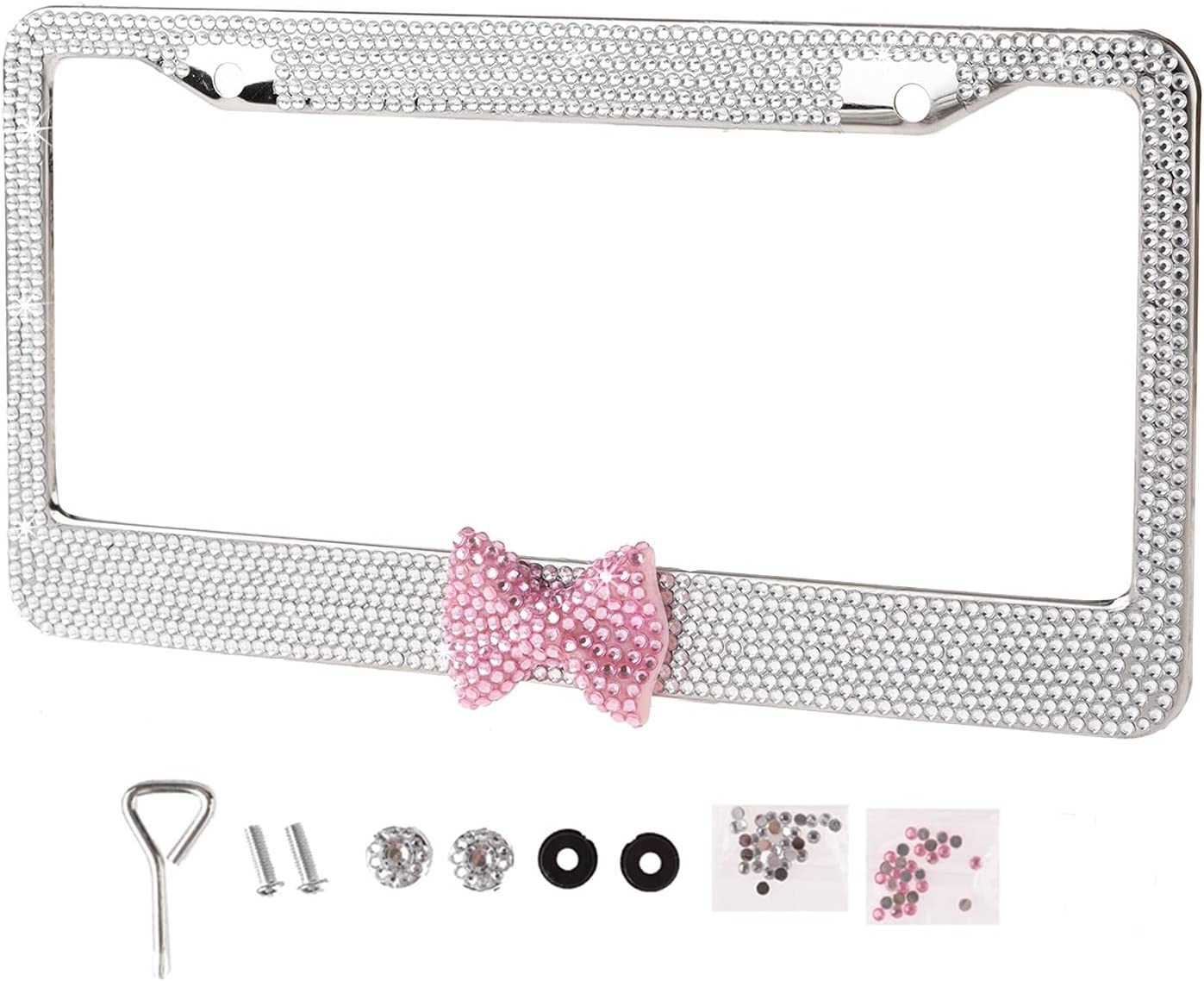 Hot Clear Frame with Pink Bowtie Bling Crystal License Plate Frame Cute Rhinestone Car/Truck/SUV License Plate Holder for Woman,Lady,Girl (1 Frame)