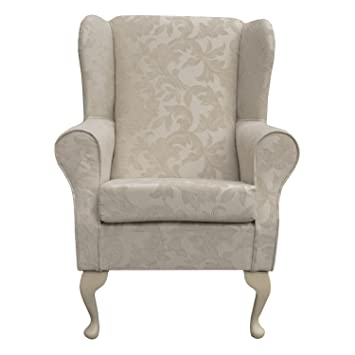 Beaumont Small Westoe Wingback Armchair In A Pale Cream Fortuna