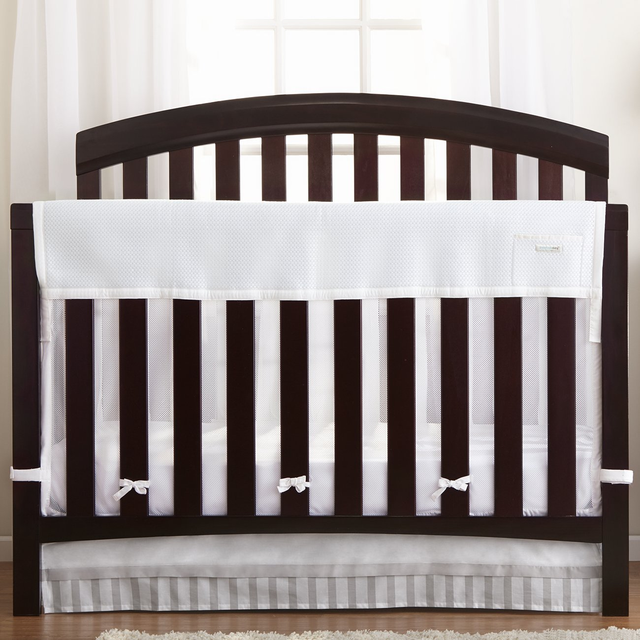 BreathableBaby | Railguard Plus Rail Cover and Liner | Helps Prevent Baby From Gnawing on Wood Rails |Helps Prevent Arms and Legs from Getting Stuck Between Crib Slats | White by BreathableBaby (Image #1)