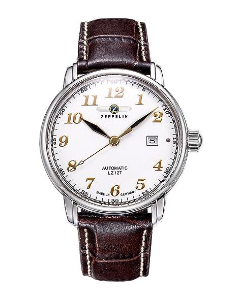 Zeppelin 76561 - Reloj de caballero automático, correa de piel color marrón: Amazon.es: Relojes