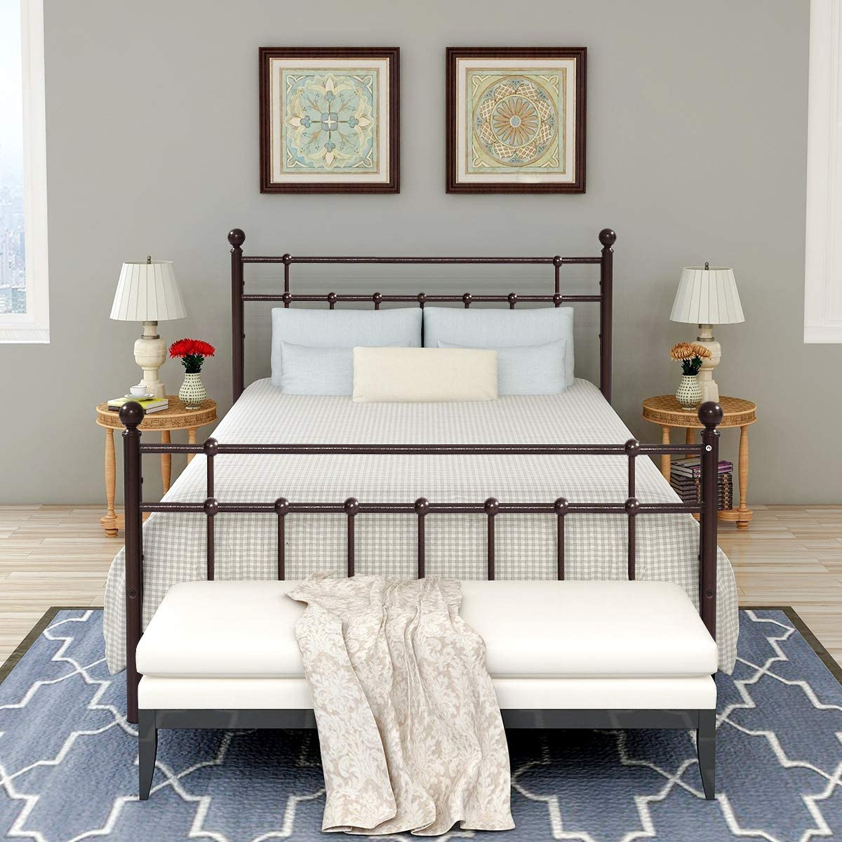Double Metal Bed Platform Frame with Steel Headboard and ...