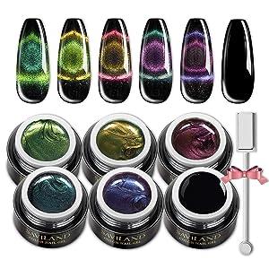 Saviland Cat Eye Gel Polish 9D - Magnetic Gel Nail Polish with Black Gel Nail and Magnetic Stick Soak off UV LED Nail Polish Gift Set
