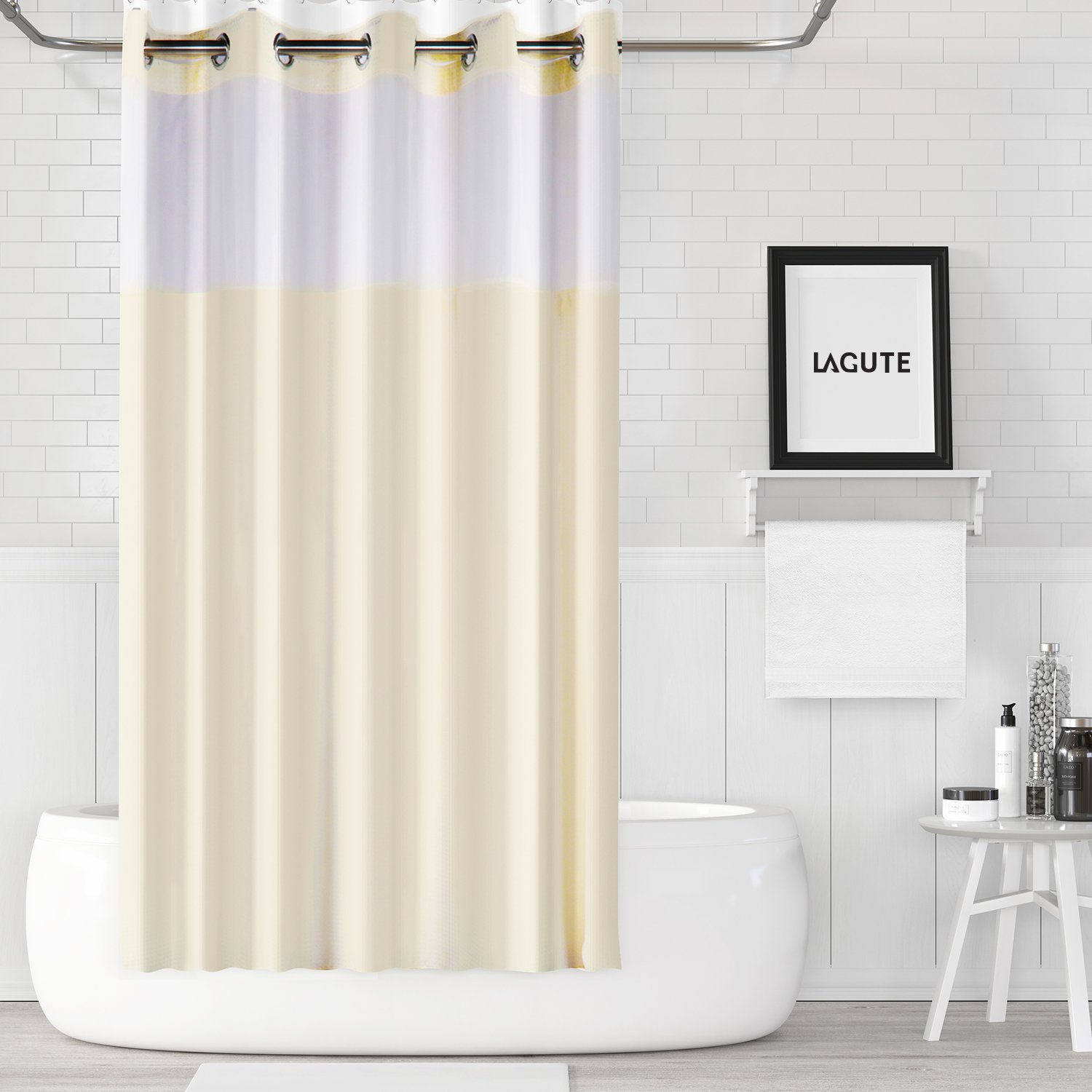 Lagute HS-301 SnapHook Shower w/Snap Bathroom Removable Polyester Liner [71''x 74''] | Translucent See-Through Window and Anti-Mold Waffle Fabric Bathtub Curtain, Cream