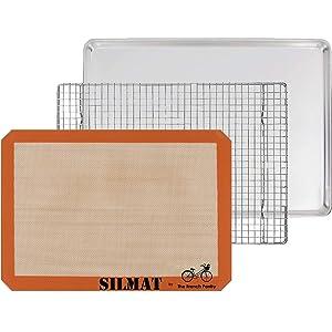 3 Piece Baking Gift Set - Aluminum Sheet Pan, SILMAT Silicone Baking Mat & Stainless Steel Cooling Rack
