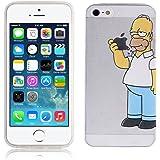Cover Simpson Homer Mangia Mela Per iPhone 5 5S SE Case TPU Gomma Morbida Trasparente Silicone Ultra Sottile Slim 0,33 MM Disegno Personalizzato Cartoni Animati kaser® (iPhone 5 / 5S / SE)