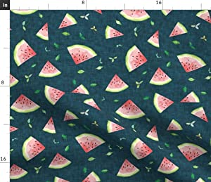 Spoonflower Fabric - Watermelon Midnight Navy Fruit Food Watercolor Summer Girl Kitchen Printed on Linen Cotton Canvas Fabric by The Yard - Sewing Home Decor Table Linens Apparel Bags