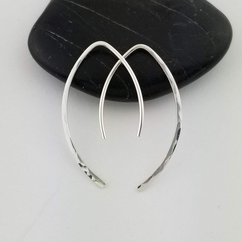 1 Thin Sterling Silver Hammered Threader Earrings Open Hoop 20 Gauge .8mm