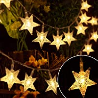 EYUVAA LABEL 30 LED 10M Star Shape LED String Lights Multi Color Fairy Lamp for Christmas Diwali Birthday Wedding Decoration (Golden)