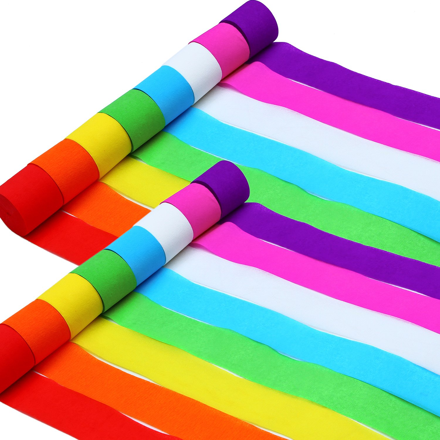 Aneco 92 Feet 16 Rolls Crepe Paper Streamers Party Streamer Paper Decorations Assorted Colors for Birthday Party Wedding Concert and Various Festivals (Set A)