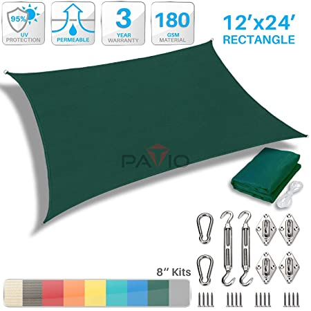 Patio Paradise 12 x 24 Sun Shade Sail with 8 inch Hardware Kit, Green Rectangle Canopy Durable Shade Fabric Outdoor UV Shelter Cover – 3 Year Warranty – Custom