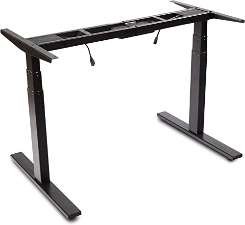 VWINDESK VJ201-S3 Electric Height Adjustable Sitting Standing Desk Frame Only Sit Stand – Dual Motors 3 Segment Motorized Desk Base Only,Black