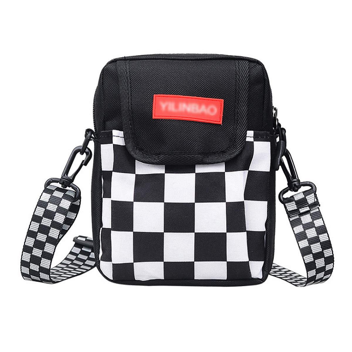 Van Caro Nylon Crossbody bag-Checkerboard Cell Phone Pouch Wallet Purse Shoulder Bag Travel Packs for Unisex