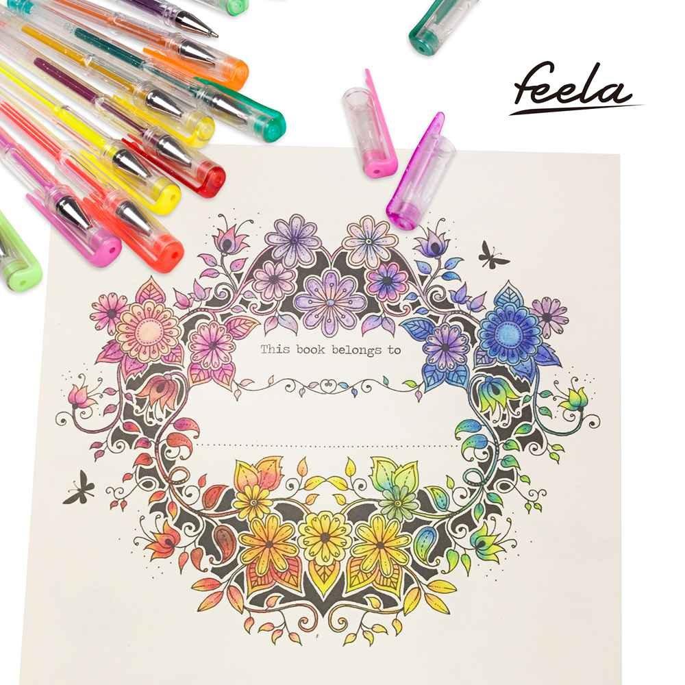Feela 360 Colors Gel Pens Set 180 Unique Gel Pen Plus 180 Refills for Adult Coloring Books Drawing by Feela (Image #5)