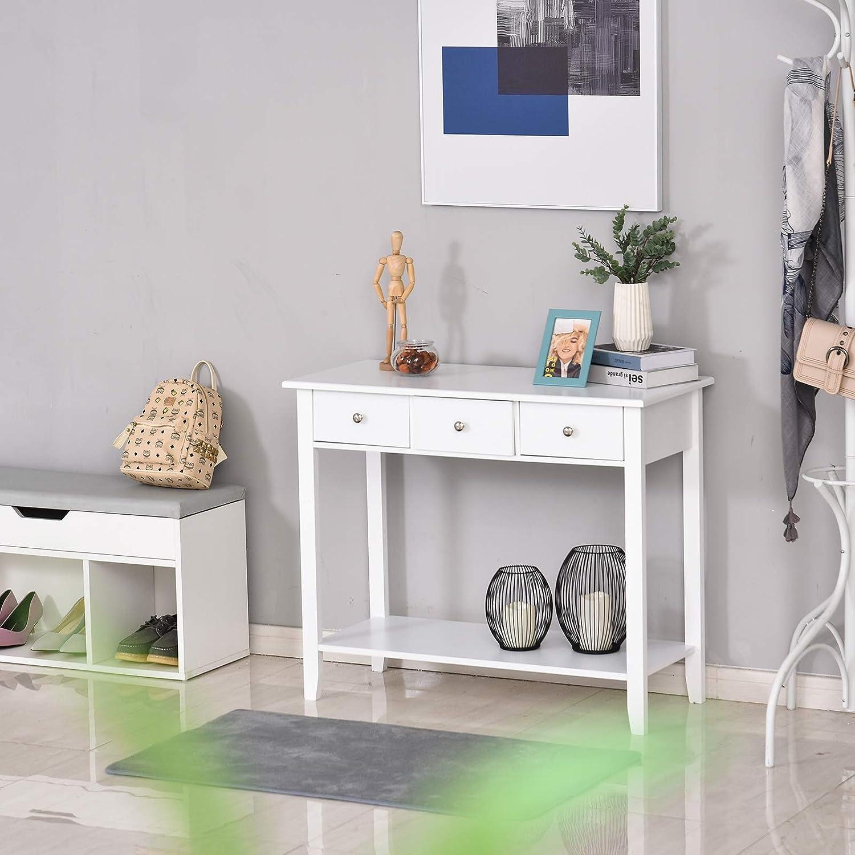 90x40x75 cm per Casa//Ingresso//Camera homcom Tavolo Consolle Bianco in Legno di Pino e MDF con 3 Cassetti e 1 Mensola