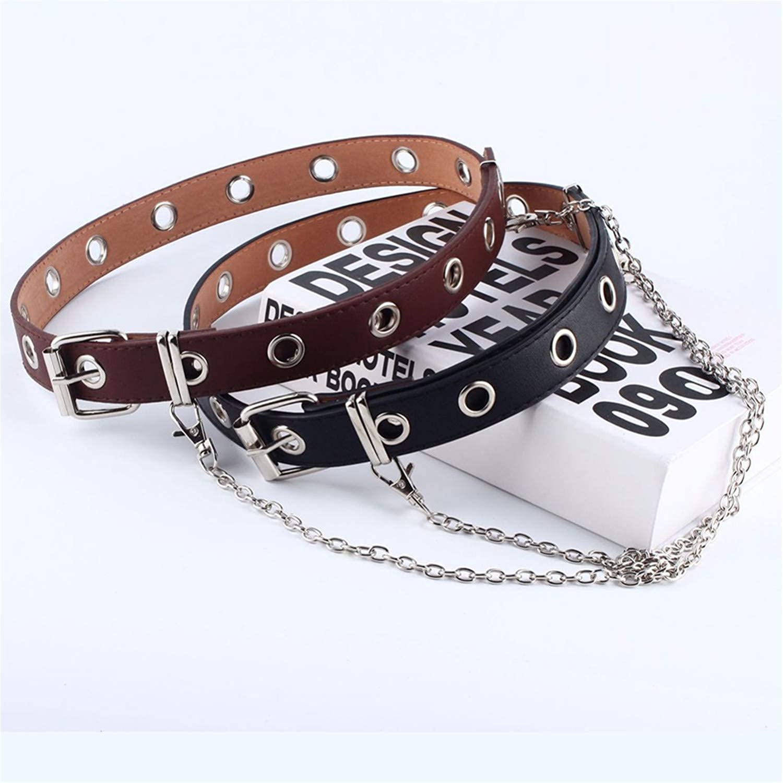 Women Fashion Belt Adjustable Black Double//Single Eyelet Grommet Leather Buckle Belt