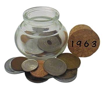 55 Geburtstag Ein Glas Mit Münzen Von 1963 Symbolisch