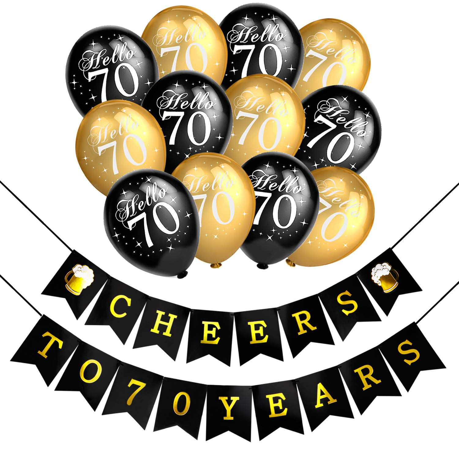 Howaf 70th Birthday Party Decorations Black And Gold Latex Balloon Cheers To 70 Years Banner For Women Men
