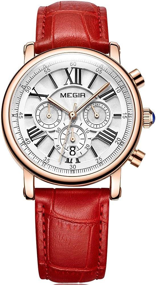 MEGIR Women s Luxury Waterproof Chronograph Quartz Watches Leather Stainless Steel Wristwatch for Lady Woman