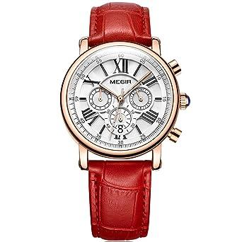 ebf4cb1af52 MEGIR Women s Elegant Red Leather Quartz Wrist Watches Chronograph 24-Hour  Casual Stopwatch for Lady