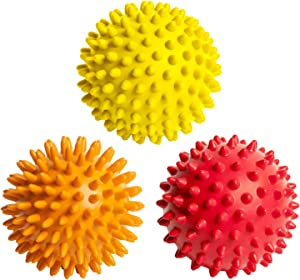 Octorox Spiky Massage Balls for Foot, Back, Muscles - 3 Soft to Firm Spiked Massager Roller Orb Set for Plantar Fasciitis, Trigger Point Therapy, Exercise, Yoga, Deep Tissue Myofascial Release, 3-inch