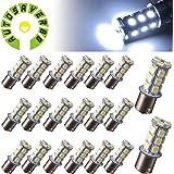 AUTOSAVER88 [20 Pack] Superbright 1156 LED Light Bulb Cool White BA15S 5050 [18 SMD] Car Trailer LED Light 7503 1141 1073