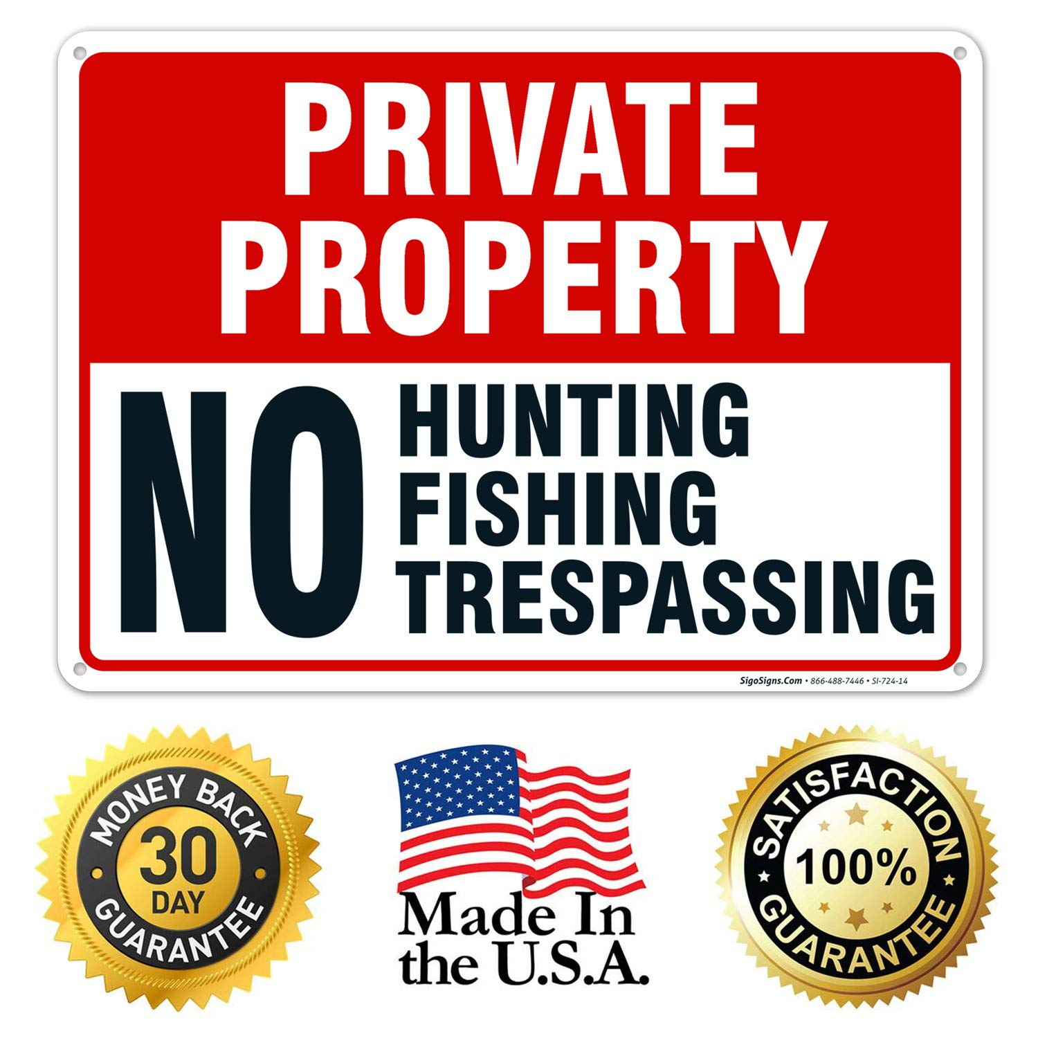 """Posted Private Property No Trespassing Tyvek Sign Red and White Durable Heavy Duty Weather Resistant 8/"""" x 12-25 Signs"""