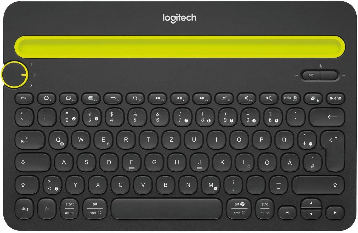 Logitech K480 Teclado Inalámbrico Multidispotivo para Windows, Apple iOS, Android o Chrome, Bluetooth, Diseño Compacto, PC/Mac/Portátil/Smartphone/Tablet, Disposición QWERTZ Alemán, Negro