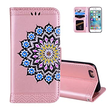 Coque Iphone 7 Rose Or Aeeque Brillant Motif Retro Couleur Mandala