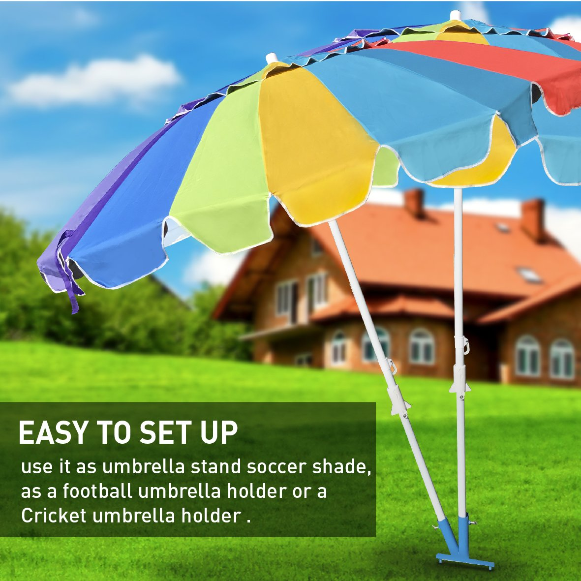 Blue Umbrella Stand Sports Dual Umbrella Holder Fishing Pole