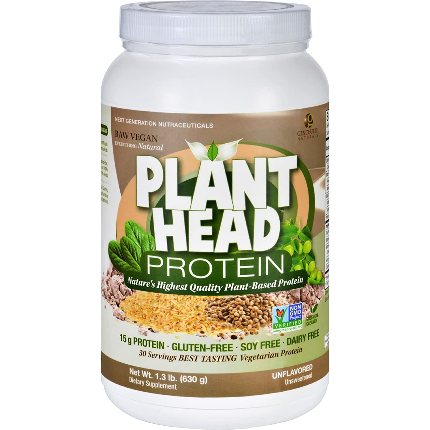 Amazon.com: 2 Pack of Genceutic Naturals Plant Head Protein - Unflavored - 1.3 lb - Gluten Free-Dairy Free -: Health & Personal Care