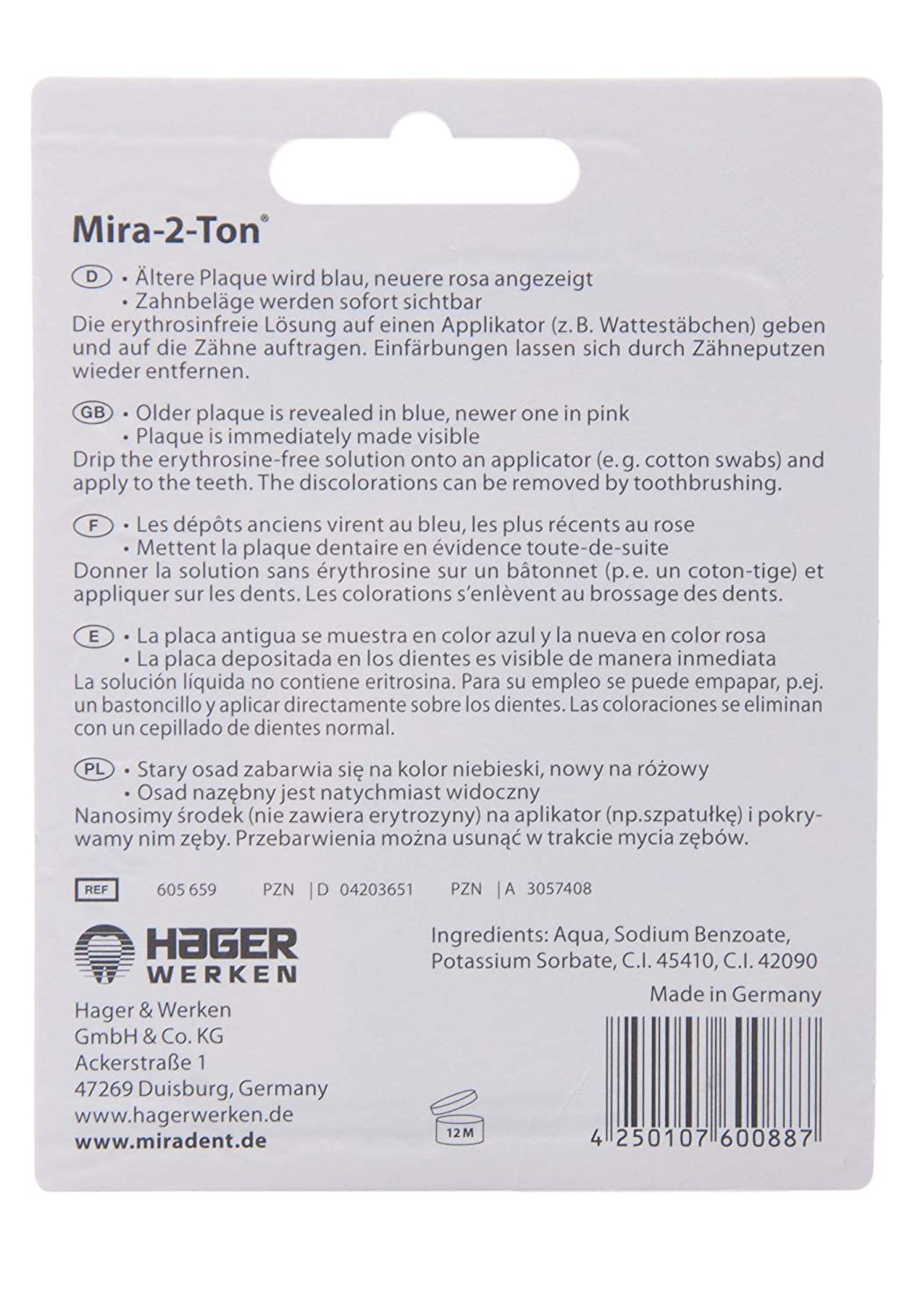 Amazon.com: MIRADENT Plaquetest Lösung Mira-2-Ton 10ml (1 x 10ml): Health & Personal Care