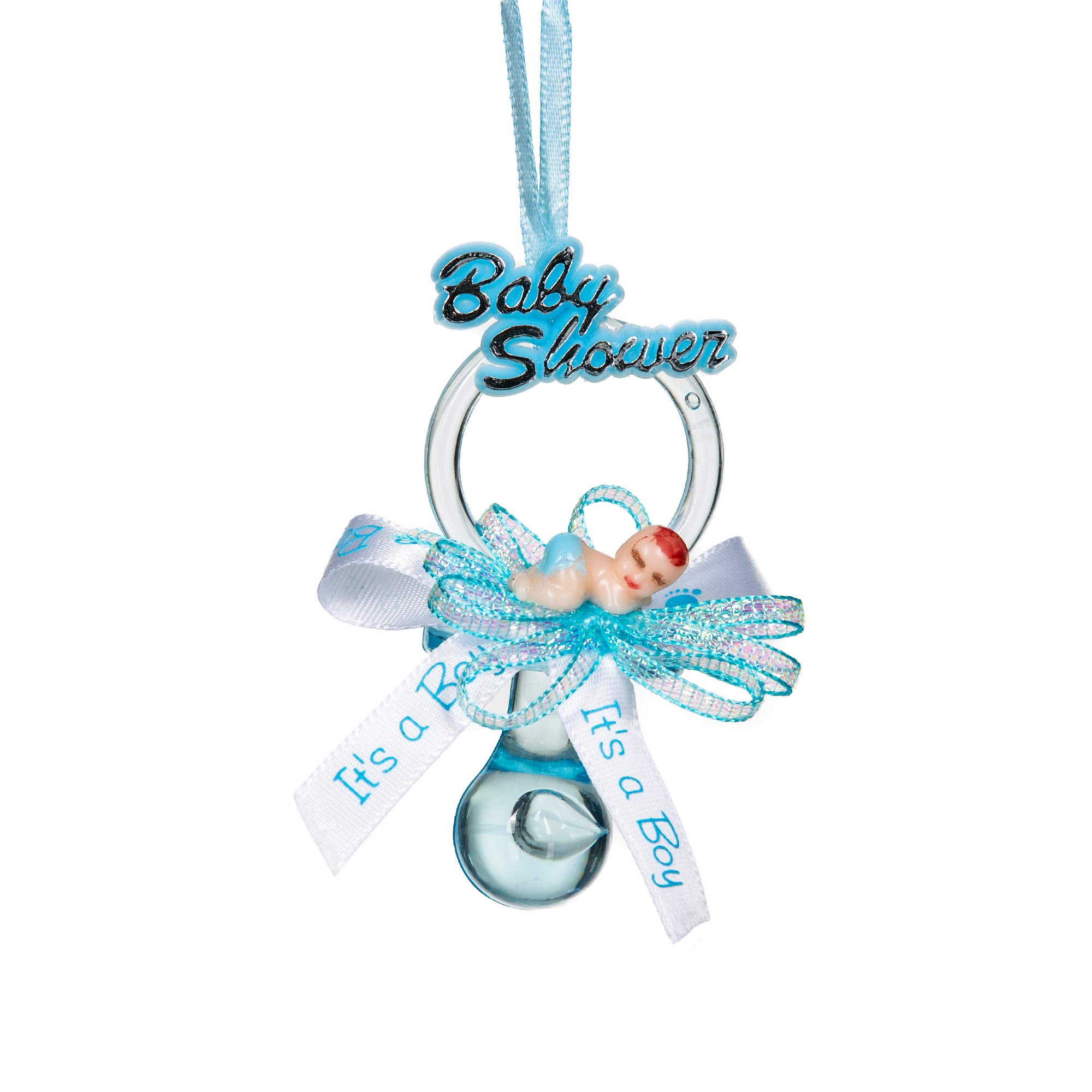 Baby Shower Party Favor Pacifier Necklace (12 Pcs.): Adorable Keepsake for Expecting Moms & Guests, Premium Supplies for Gender Reveal Announcements, Decorations, Games, Cupcake Toppers, More (Blue) by Navigate Life's Journey