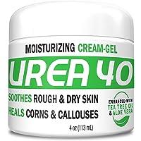 Urea Cream 40 | Corn and Callus Remover, Skin Exfoliator and Urea Moisturizer Cream Gel, 4oz