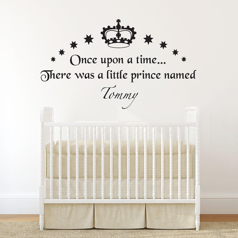 Amazon com beautiful custom made personalized boys prince wall sticker name crown star decal kids nursery bedroom vinyl wall decor decoration home