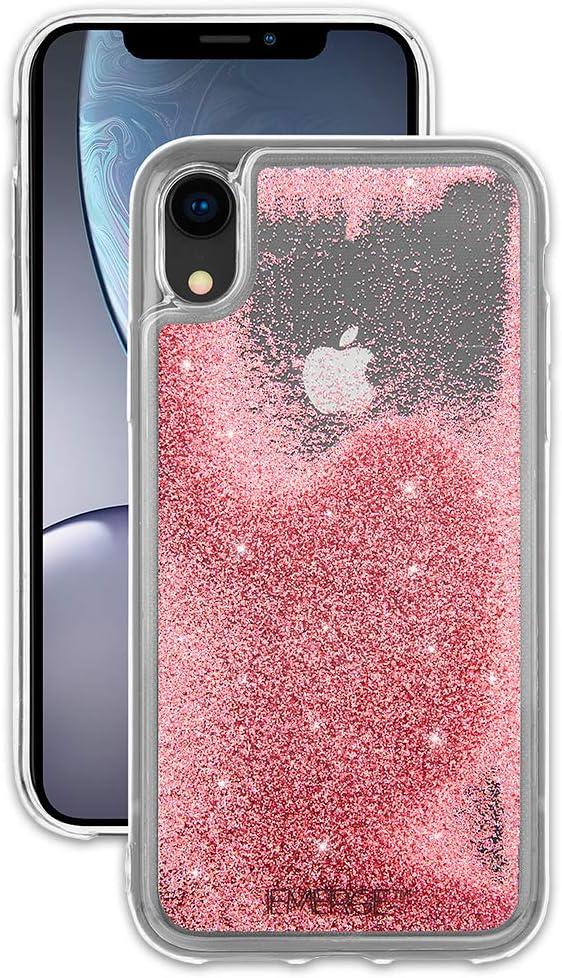 EMERGE SNOW GLOBE iPhone XR Glitter Cell Phone Case - Flowing Liquid Glitter Pink