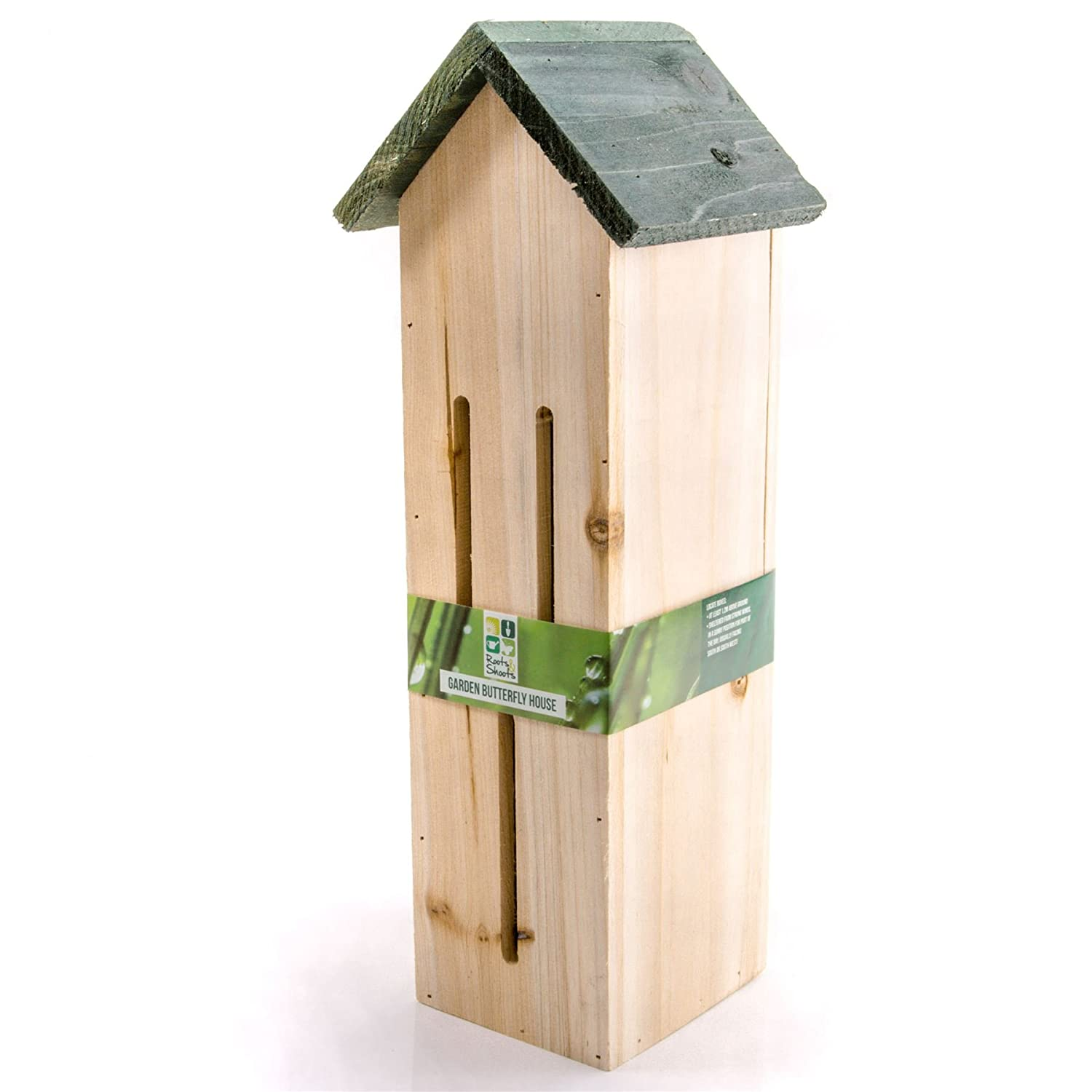 Tall Natural Wooden Butterfly House 40cm