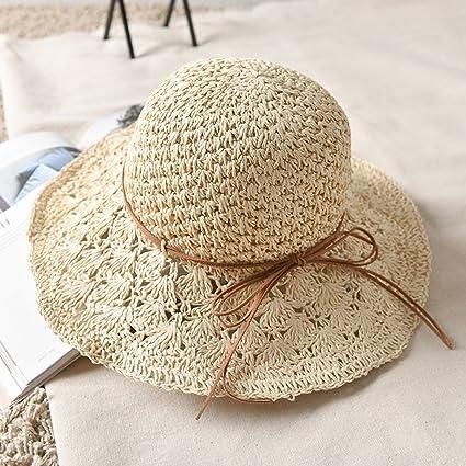 LZ Home Sombrero de Paja Sombrero Grande Sombrero Plegable de Playa  Balneario Sombrero para el Sol 9a129e94ca0