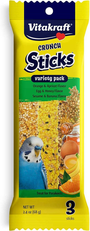 Vitakraft Crunch Sticks Variety Pack: Orange & Apricot Flavor, Egg & Honey Flavor, Sesame & Banana Flavor Treats for Parakeets, 2.4 oz