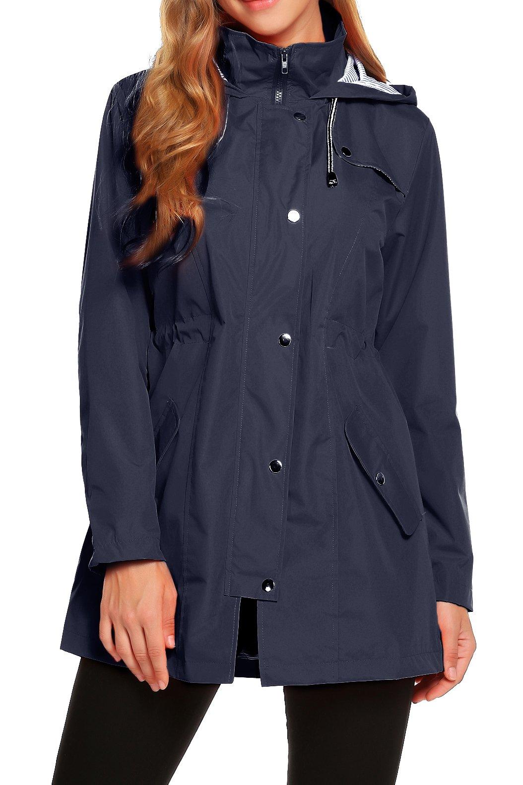 ZHENWEI Womens Lightweight Hooded Waterproof Active Outdoor Rain Jacket S-XXL (L, Navy Blue) by ZHENWEI