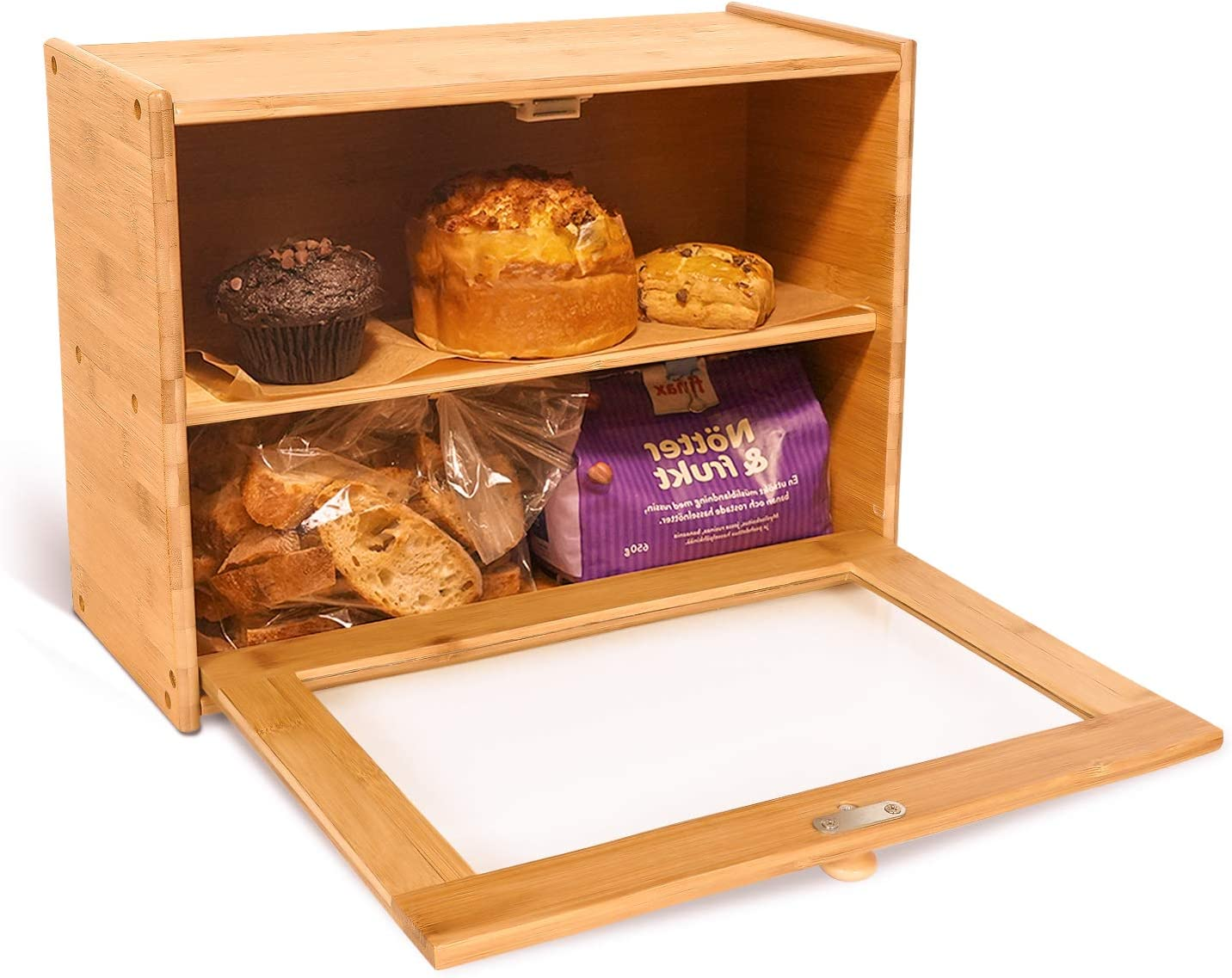 "Goodpick 2-Layer Bamboo Bread Box 15"" x 11"" x 6"" - Bread Storage Bin on Countertop Shelf - Bread box for Kitchen Counter with Transparent Window, Storage Basket for Egg Tart, Bagels, Muffins"