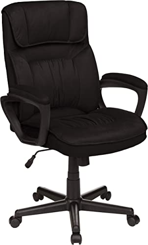 AmazonBasics Classic Office Desk Computer Chair – Adjustable, Swiveling, Ultra-Soft Microfiber – Black, Lumbar Support, BIFMA Certified