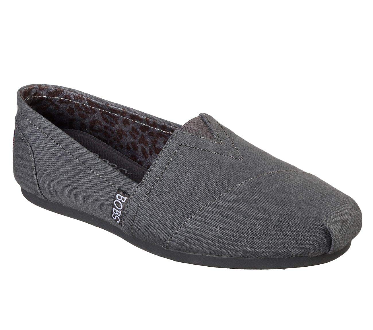Skechers BOBS Women's Plush - Peace and Love Ballet Flat, Dark Grey, 9 M US