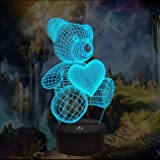 Bear Gifts 3D Night Light, Optical Illusion Teddy Heart Lamp Cute Nightlight Remote Control 16 Colors Changing Bedroom…