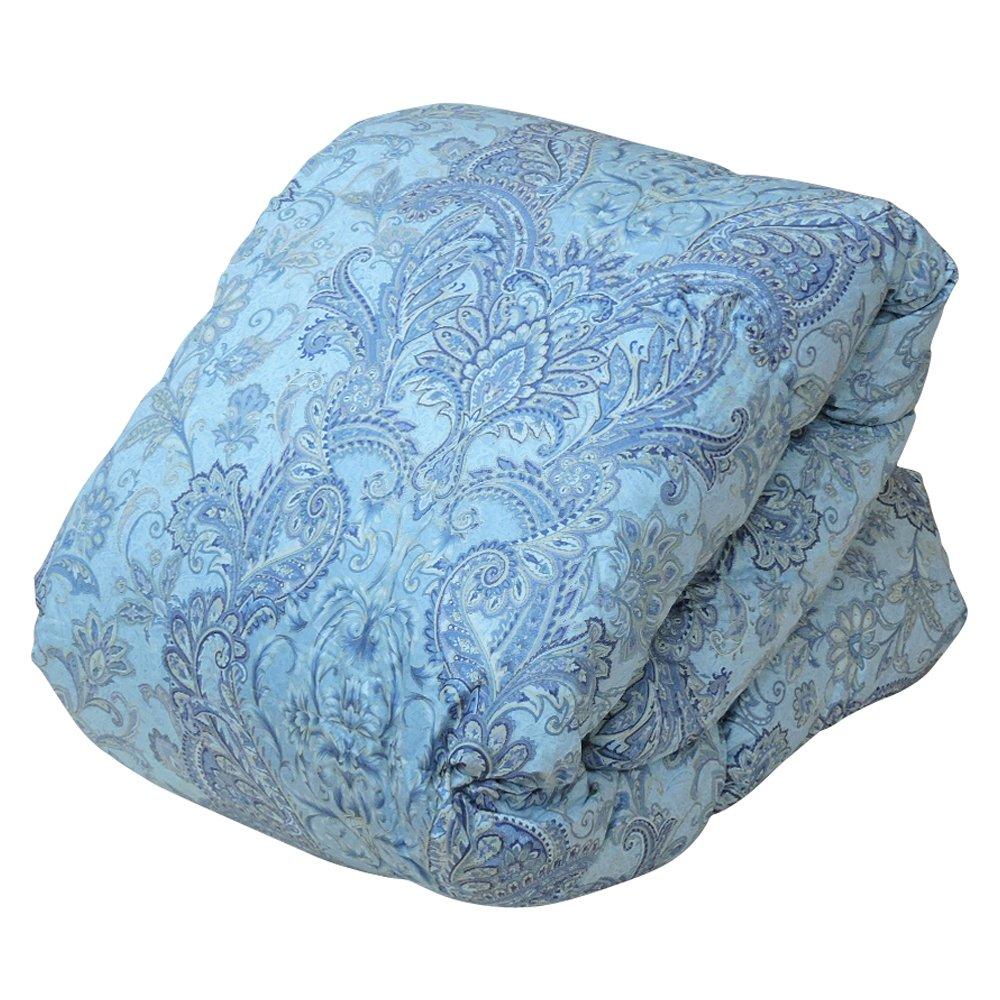 眠り姫 日本製 羽毛布団 ホワイトマザーダックダウン 93% セミダブルロング シェリー ブルー 170×210cm 60サテン 超長綿 400dp かさ高165mm以上 B076N1VJ5H セミダブルロング|ブルー ブルー セミダブルロング