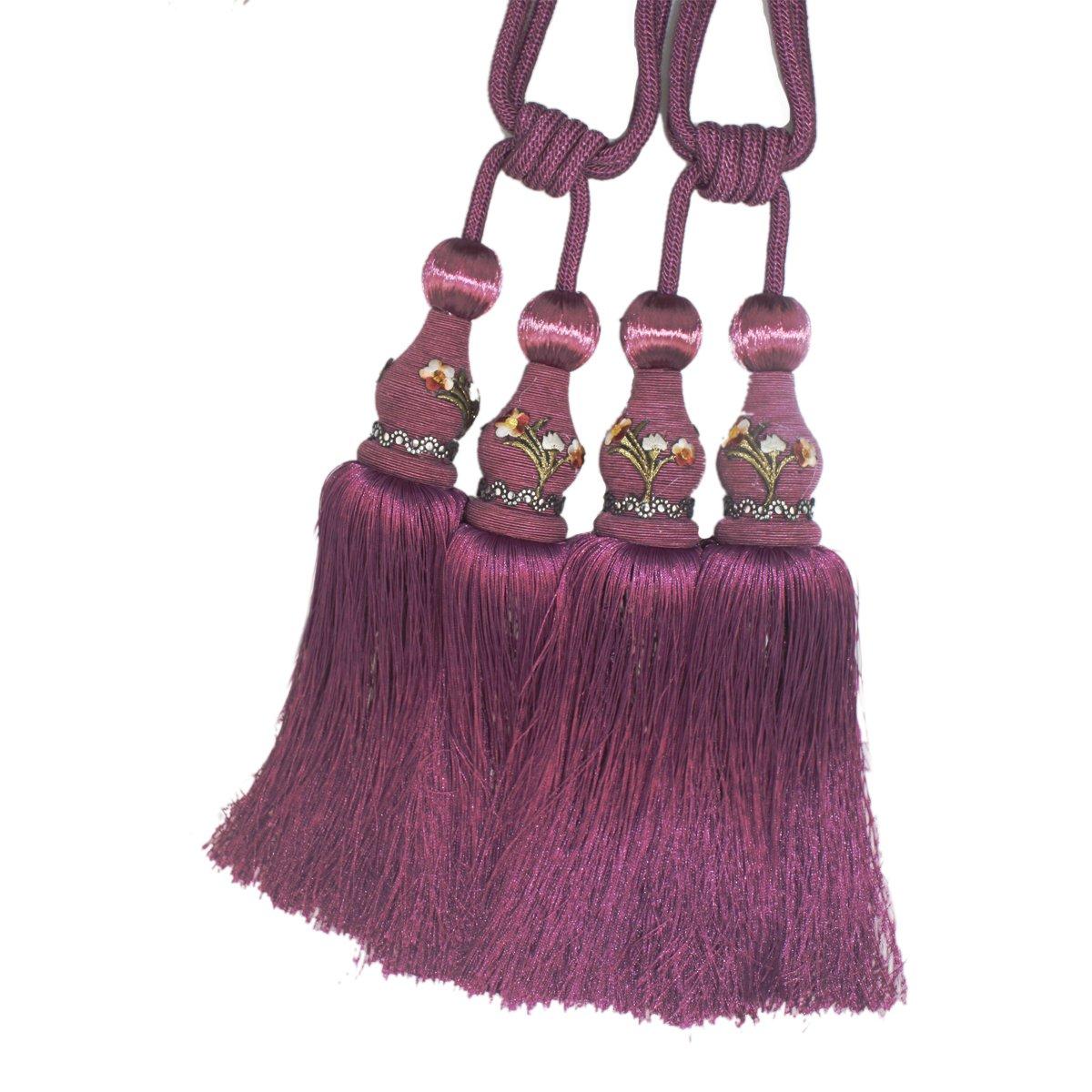 Fangbay One Pair 4 pcs tassel curtain Crystal curtain hanging ball(twin ball style) for Curtains Tiebacks Rope,Curtains Buckle Holdbacks Tiebacks Tassel Window Rope Tie Ball (purple)