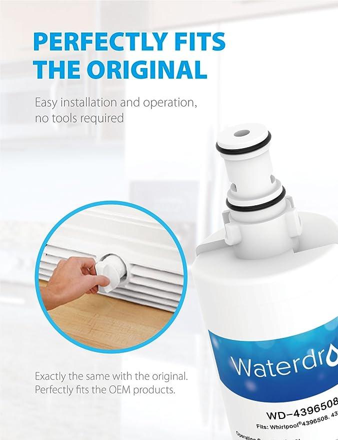 Waterdrop WD-4396508 filtro de agua del refrigerador compatible con Whirlpool 4396508, 4396510, Maytag, KitchenAid, Hotpoint, SBS002, SBS003, SBS004, ...