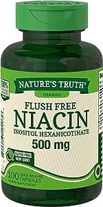 Niacin 500mg Flush Free | 100 Capsules | Non-GMO & Gluten Free | by Nature's Truth